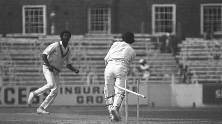 Michael Holding takes the wicket, his fourteenth of the match, of Alan Knott, at the Oval in 1976