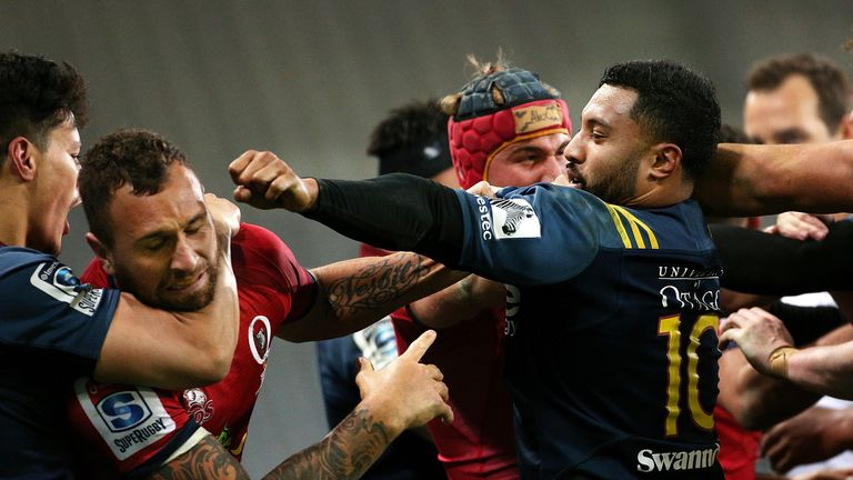 An altercation breaks out between Quade Cooper and Lima Sopoaga during the match