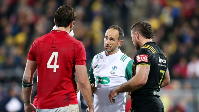 Romain Poite sent lock Iain Henderson to the bin in the Lions' 31-31 draw with the Hurricanes