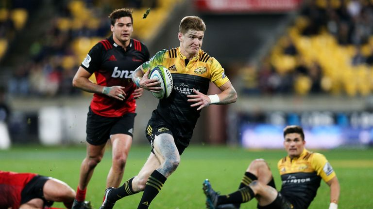 Jordie Barrett breaks away for a try against the Crusaders on Saturday