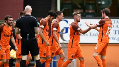 Dundee United players celebrate their second goal against Cowdenbeath on Sunday