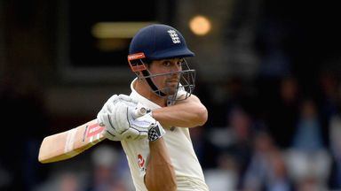 Alastair Cook batted through the rain-shortened day, reaching 82 not out