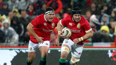 George (L) started all three tests for the Lions this summer