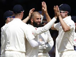 Moeen Ali celebrates his 100th wicket in his 38th Test