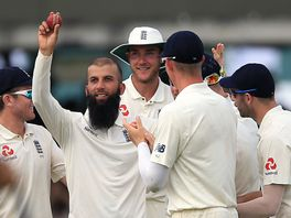 Moeen Ali celebrates his fifth wicket