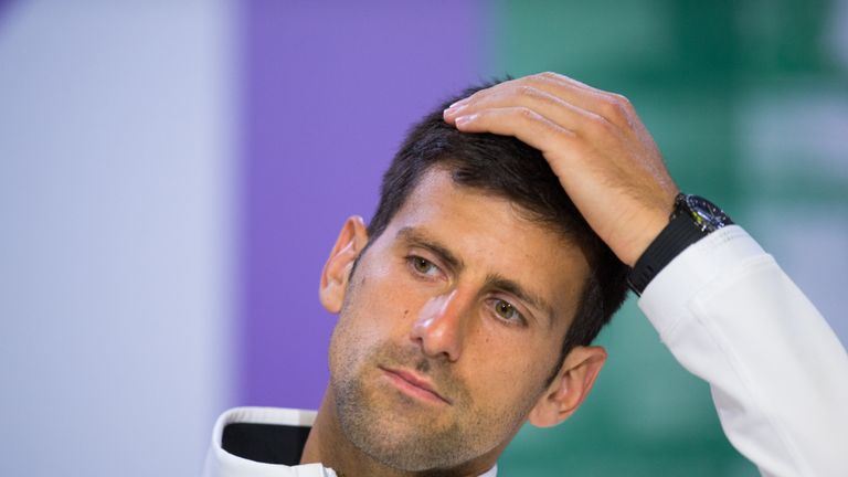 Novak Djokovic (SRB) gives a press conference immediately