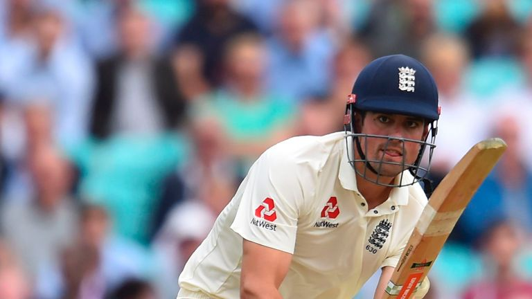 England's Alastair Cook plays a shot on the first day of the third Test match between England and South Africa at The Oval cricket ground in London on July