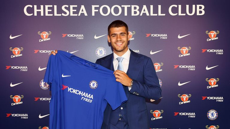 New Signing Alvaro Morata poses at Chelsea Training Ground on July 21, 2017