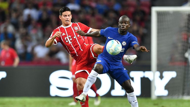 James Rodriguez and N'Golo Kante in action in Singapore