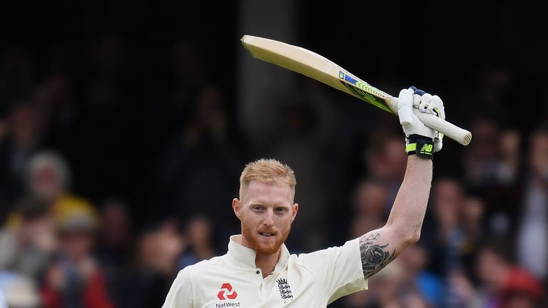Ben Stokes of England celebrates reaching his century during Day Two of the 3rd Investec Test match between England and South Africa