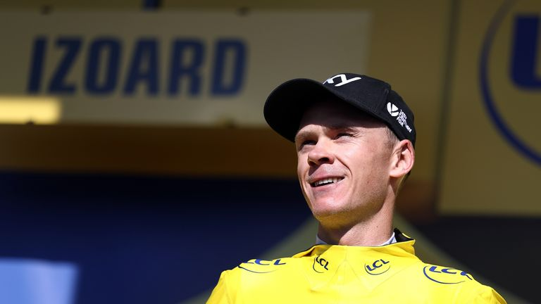 COL D'IZOARD, FRANCE - JULY 20: Chris Froome of Great Britain and Team SKY retained his race lead and yellow jersey after stage eighteen of the 2017 Tour d