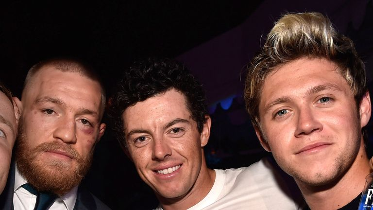 Conor McGregor, Rory Mcllroy and Niall Horan celebrate McGregor's UFC 202 victory at Wynn Las Vegas in August, 2016