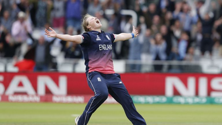 England's Anya Shrubsole celebrates as she takes the wicket of India's Rajeshwari Gayakwad to win the ICC Women's World Cup cricket final