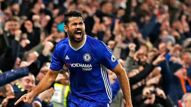 Diego Costa celebrates after scoring against Stoke City at Stamford Bridge on December 31, 2016