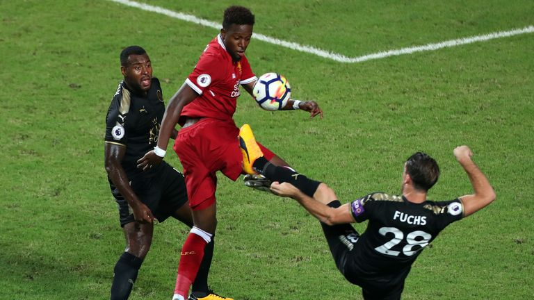 Divock Origi of Liverpool battles for the ball during the Premier League Asia Trophy match between Liverpool FC and Leicester City FC in Hong Kong