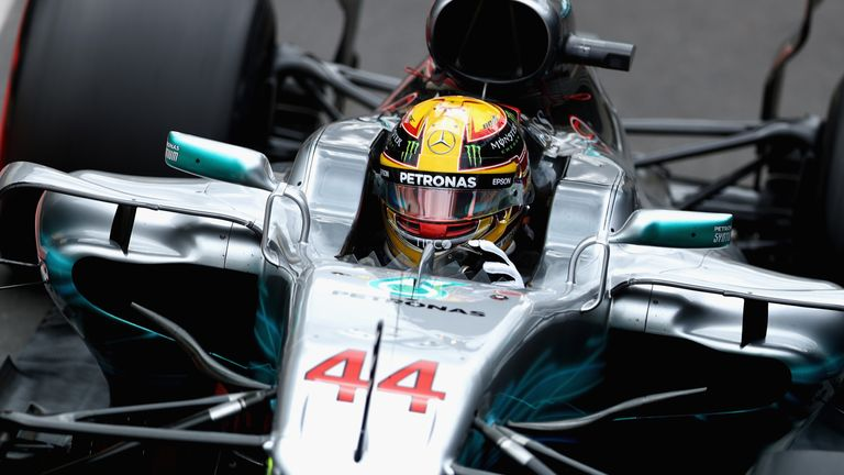 Lewis Hamilton in the pitlane during practice for the British Formula One Grand Prix