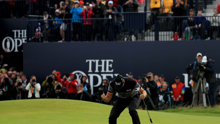 TROON, SCOTLAND - JULY 17:  Henrik Stenson of Sweden celebrates victory after the winning putt on the 18th green during the final round on day four of the