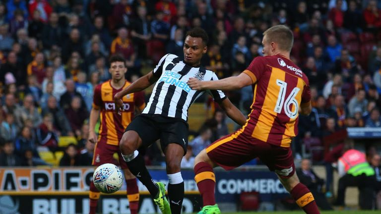 Jacob Murphy of Newcastle United scores his second goal during a pre-season friendly match between Bradford City and Newcastl