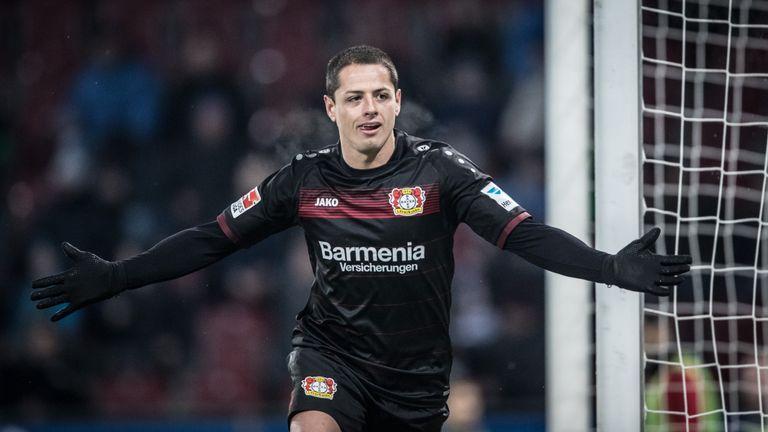 Javier Hernandez of Leverkusen celebrates his team's third goal during the Bundesliga match between FC Augsburg and Bayer Leverkusen