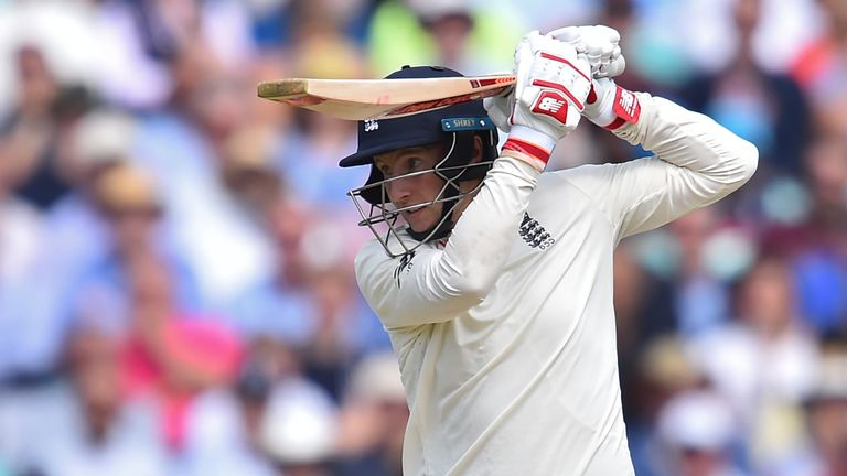 England's captain Joe Root plays a drive on day four