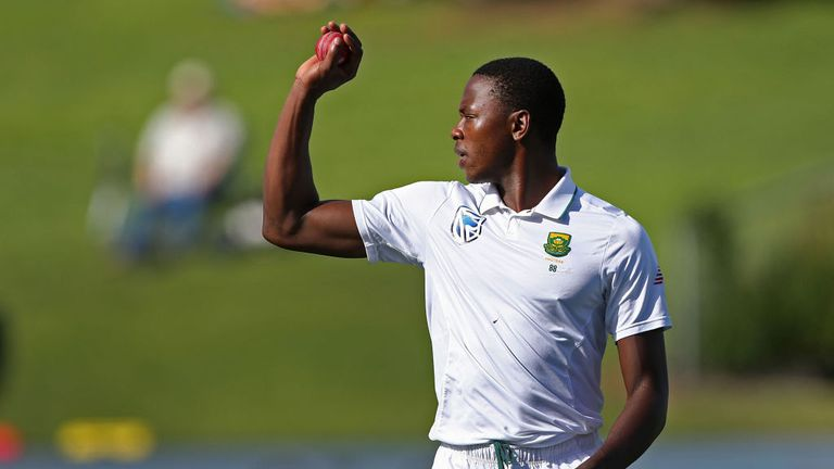 HAMILTON, NEW ZEALAND - MARCH 28:  Kagiso Rabada of South Africa bowls during day four of the Test match between New Zealand and South Africa at Seddon Par