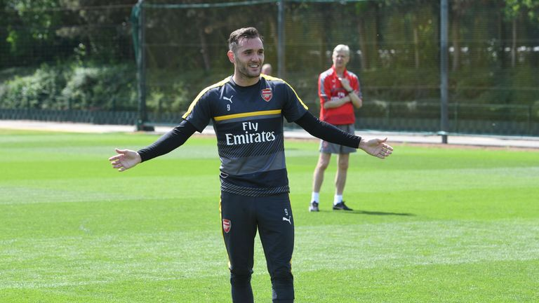 Lucas Perez of Arsenal during a training session at London Colney on May 24, 2017. (Photo by Stuart MacFarlane/Arsenal FC via Getty Images)