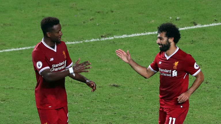 HONG KONG - JULY 22: Mohamed Salah of Liverppol celebrates with Divock Origi after scoring during the Premier League Asia Trophy match between Liverpool FC