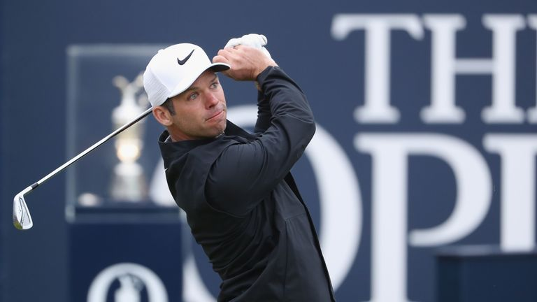 Paul Casey of England hits his tee shot on the 1st hole during the second round of the 146th Open Championship at Royal Birkdale