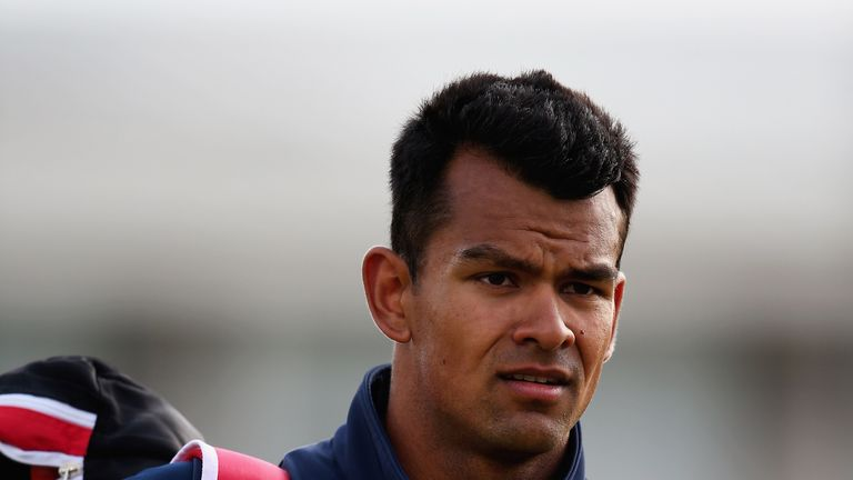 LEICESTER, ENGLAND - MAY 22:  Shiv Thakor of Derbyshire CCC looks on during the NatWest T20 Blast match between Leicestershire and Derbyshire at Grace Road