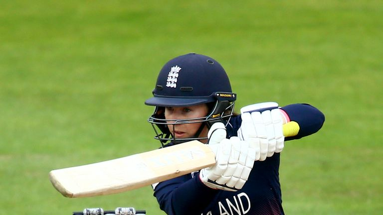 England's Tammy Beaumont bats against the West Indies