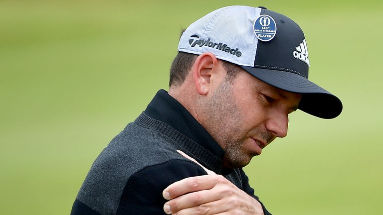 SOUTHPORT, ENGLAND - JULY 21:  Sergio Garcia of Spain feels his shoulder during the second round of the 146th Open Championship at Royal Birkdale on July 2
