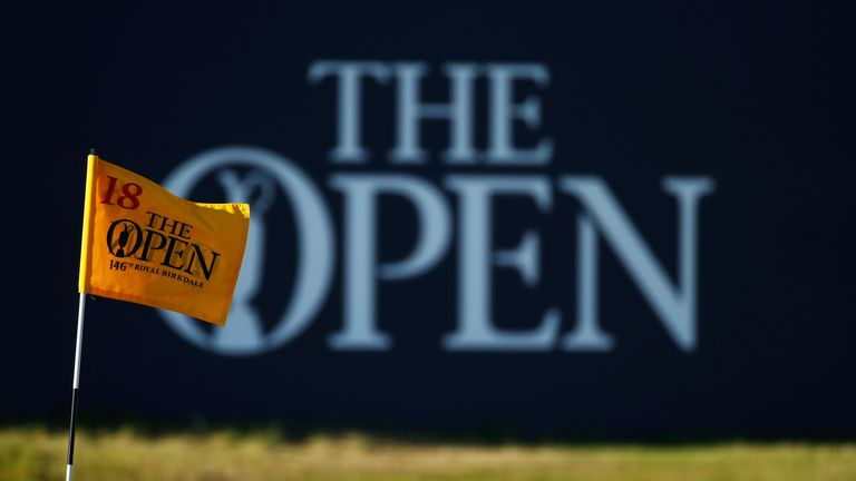 A pin flag is seen on the 18th green during the first round of the 146th Open Championship at Royal Birkdale on July 20, 2017