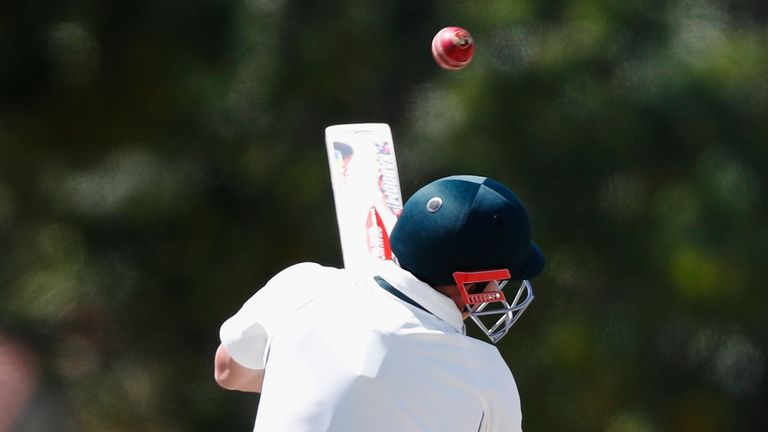 Warner is hit by a Hazelwood bouncer on Tuesday