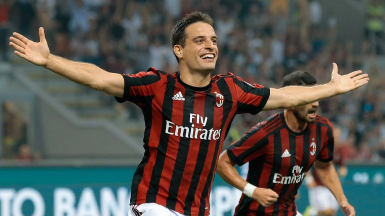 Giacomo Bonaventura celebrates after scoring the opening goal against Universitatea Craiova