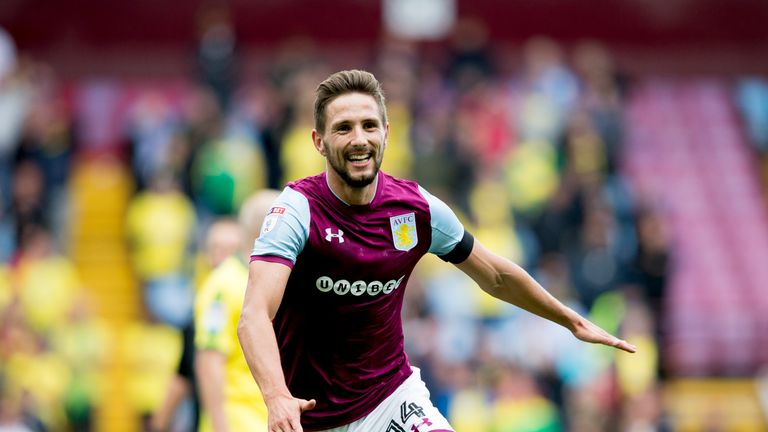 Conor Hourihane celebrates the second of his three goals against Norwich City at Villa Park