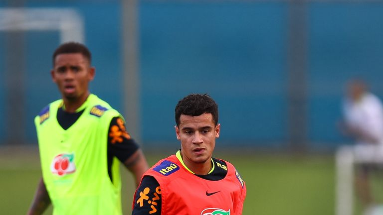 Philippe Coutinho takes part in a Brazil training session amid interest from Barcelona