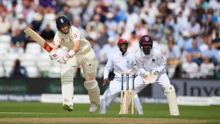 England batsman Joe Root on his way to a half-century at Headingley