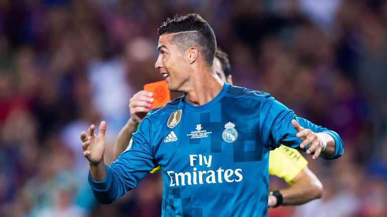 Cristiano Ronaldo looked stunned when the referee produced a red card