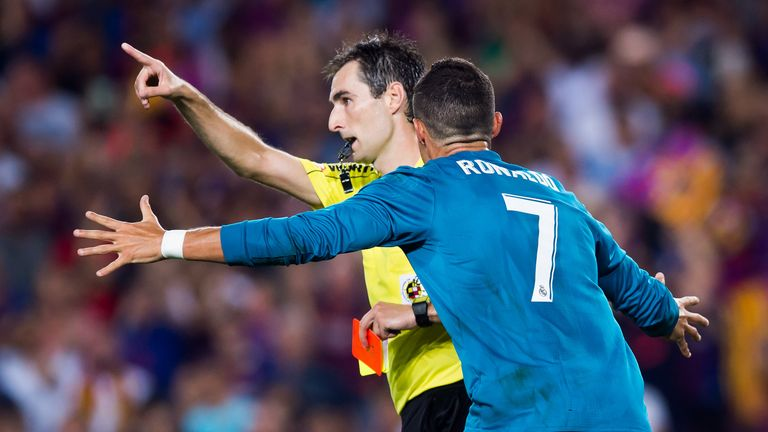 Ronaldo was sent off at the Nou Camp and reacted by pushing referee Ricardo De Burgos Bengoetxea in the back