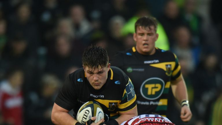 Ethan Waller in action for Northampton