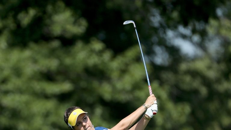 Georgia Hall could not avoid defeat in the last match of the day with Charley Hull