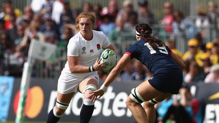 England's Harriet Millar-Mills takes on Abby Gustaitis of the USA