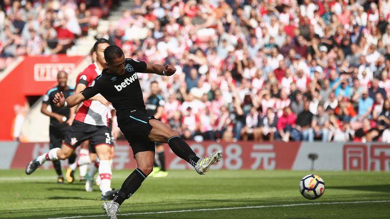 Javier Hernandez scored twice to open his account