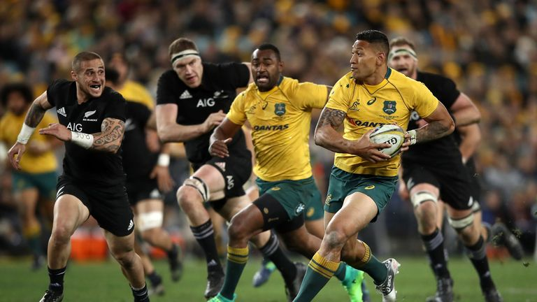 Israel Folau on the attack against the All Blacks in the first Test