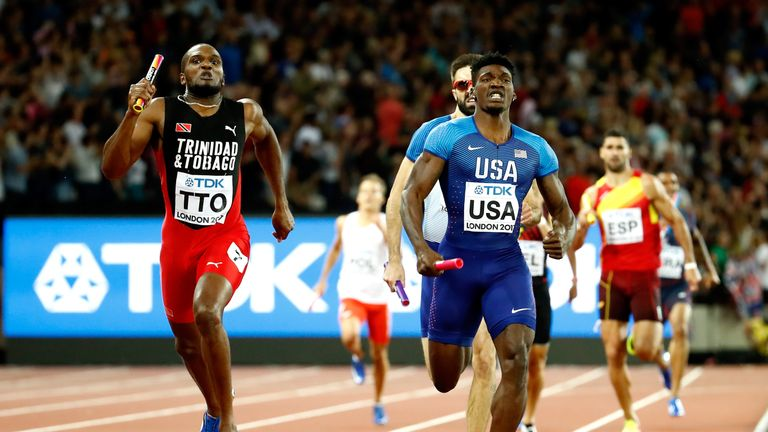 Lalonde Gordon (left) ran a great last leg to clinch gold for Trinidad & Tobago