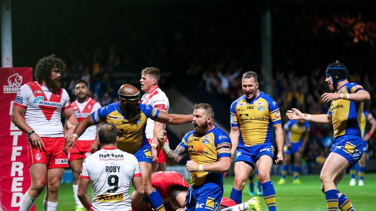 Leeds' Adam Cuthbertson crashed over for the pivotal moment in the match, as his try ultimately won it