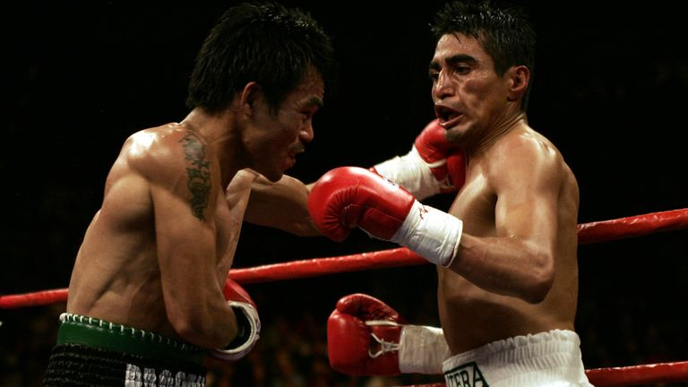 Although Morales (R) won their first fight, Pacquiao would go on to win the next two during an epic fighting trilogy