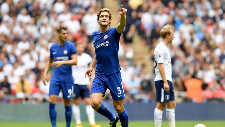 Marcos Alonso celebrates after scoring the first of his two goals for Chelsea