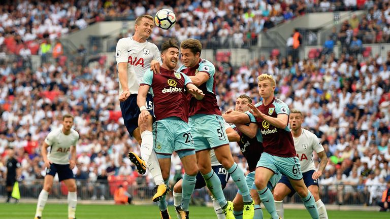 Eric Dier heads the ball during the Premier League match between Tottenham Hotspur and Burnley at Wembley