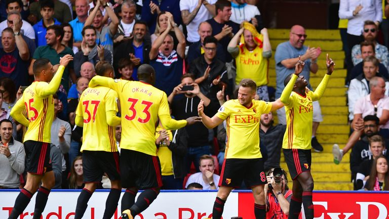 Abdoulaye Doucoure celebrates scoring Watford's second goal